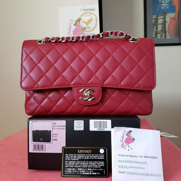 CHANEL Handbags - Chanel classic double flap red caviar silver hw